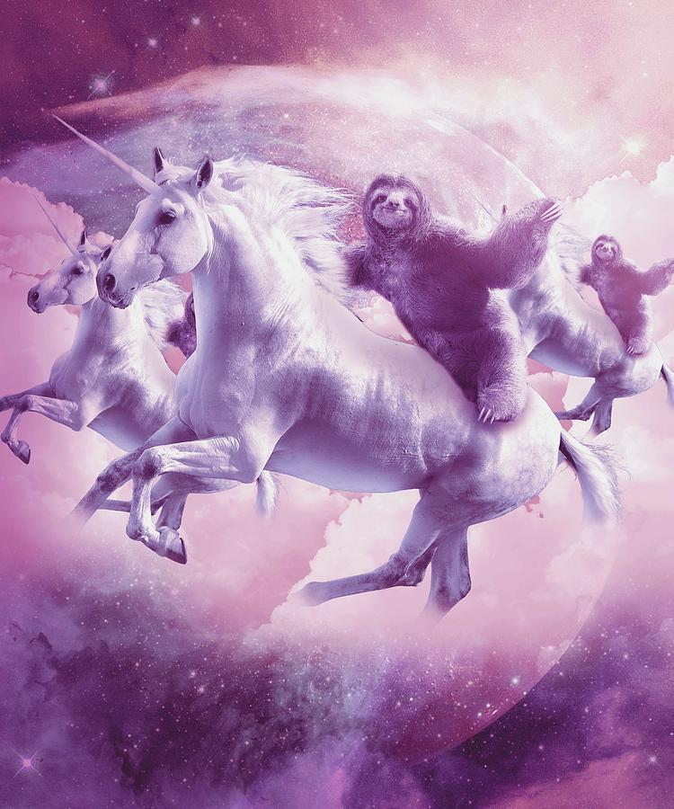 Unicorn Digital Art - Epic Space Sloth Riding On Unicorn by Random Galaxy