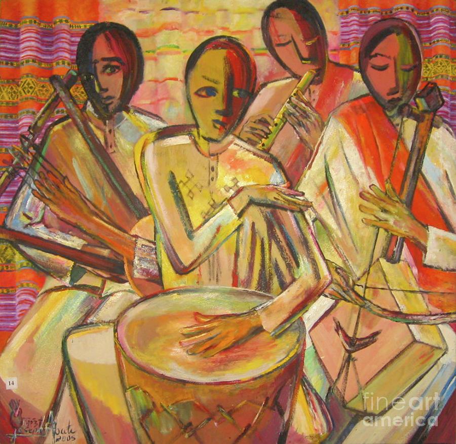 Ethiopian Instrument Painting By Yoseph Abate