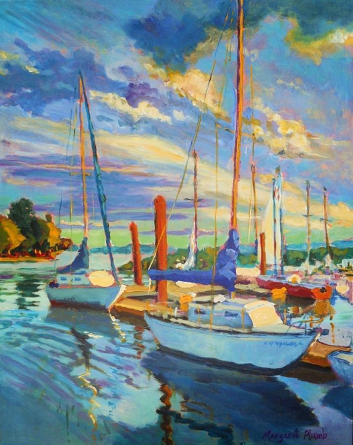 Sailboats Painting - Evening At The Marina by Margaret  Plumb