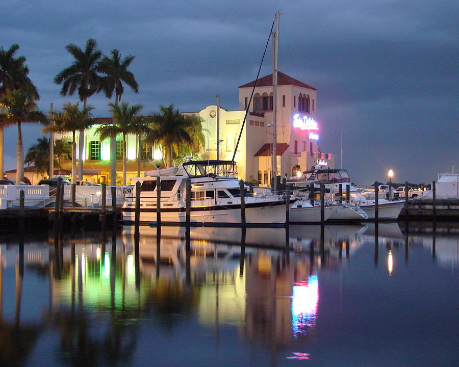 Boat Photograph - Evening At The Twin Dolphin Marina by Kimberly Camacho