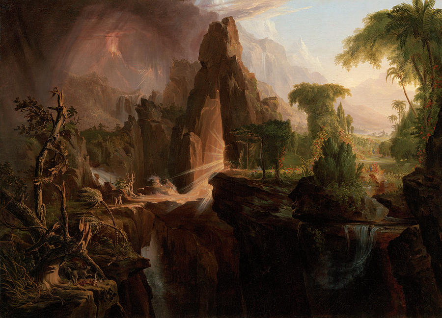 Expulsion Painting - Expulsion From The Garden Of Eden by Thomas Cole