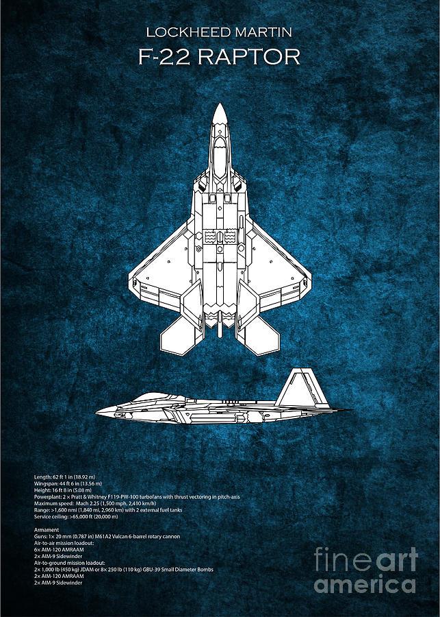 F-22 Digital Art - F22 Raptor Blueprint by J Biggadike