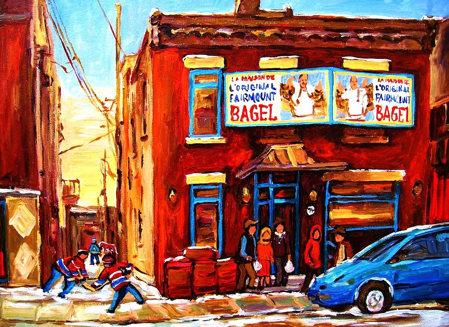 Hockey Painting - Fairmount Bagel In Winter by Carole Spandau