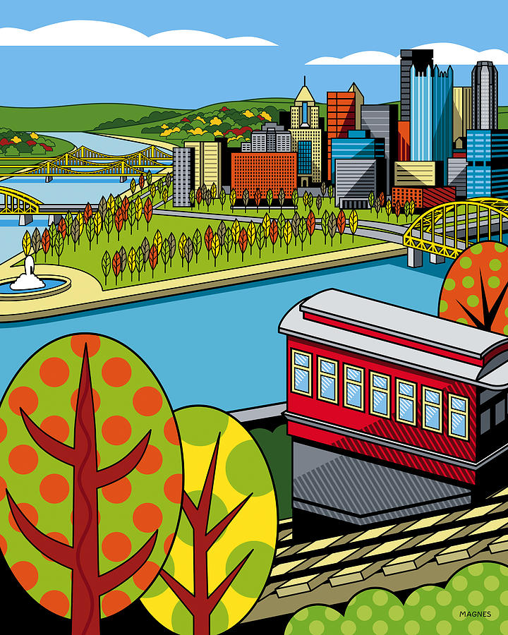 Pittsburgh Digital Art - Fall from above II by Ron Magnes