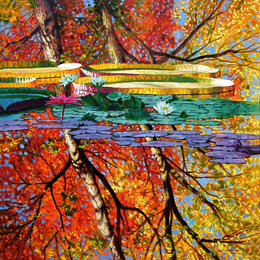 Water Lilies Painting - Fall Reflections by John Lautermilch