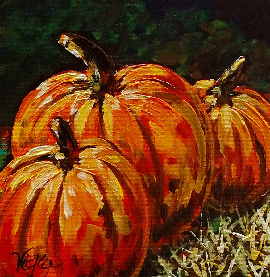 Pumpkins Painting - Fall Whisper by Vickie Warner