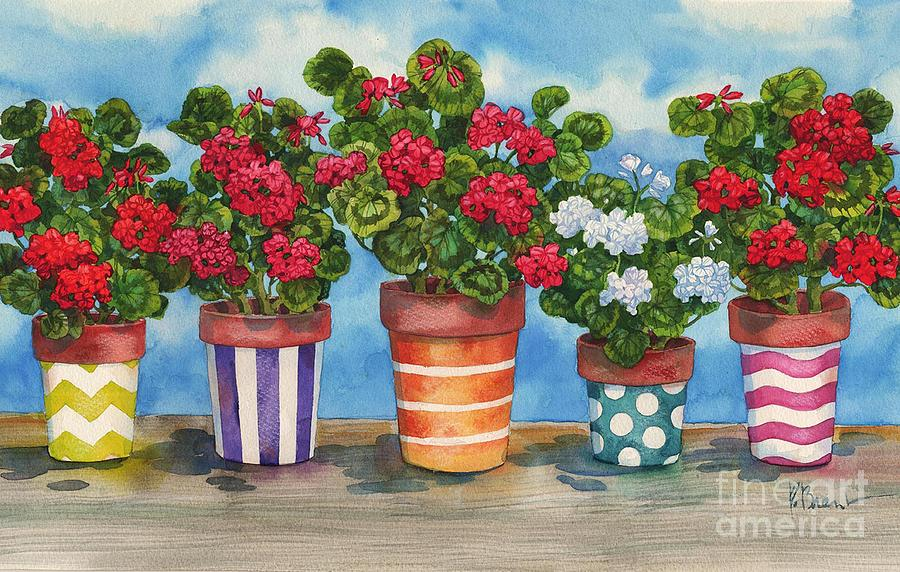 Pots Painting - Fancy Pots Geraniums by Paul Brent