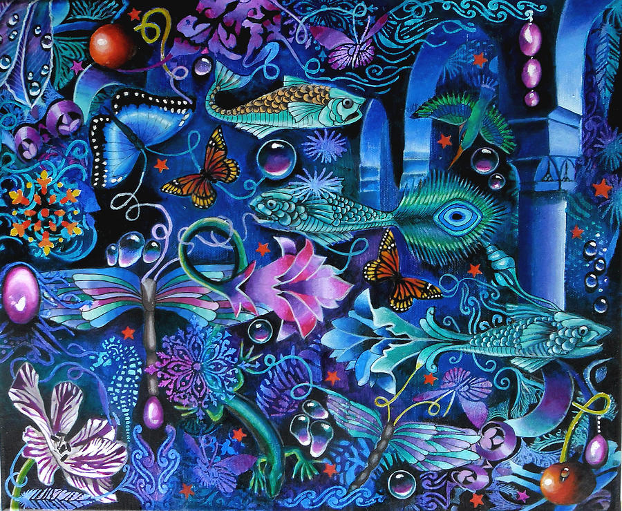Fish Painting - Fantasy Aquarium by Jeni Hodgson-Craig