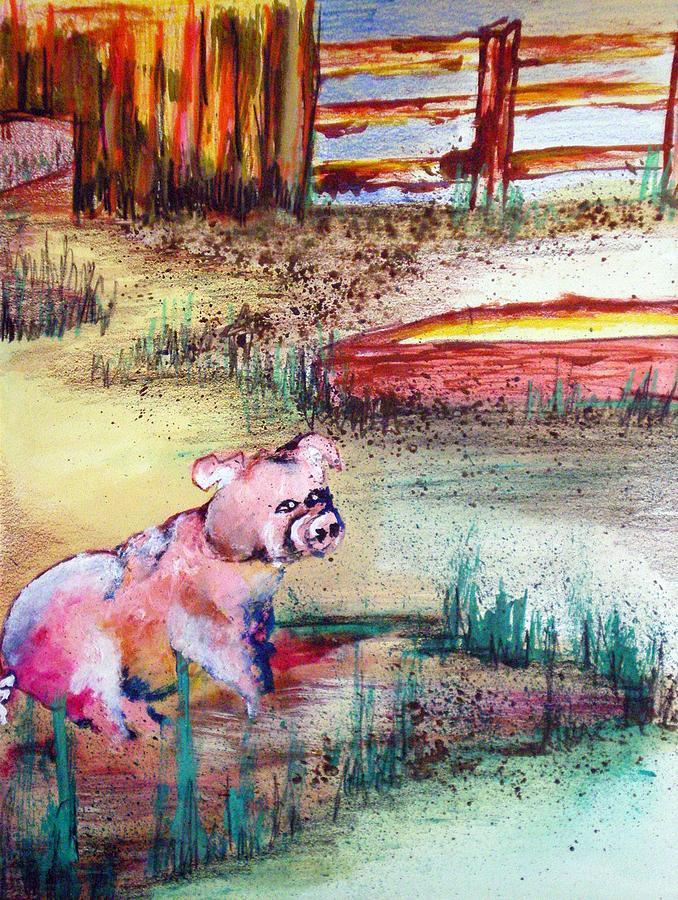 Piggy Painting - Farm Piggy by Tammera Malicki-Wong