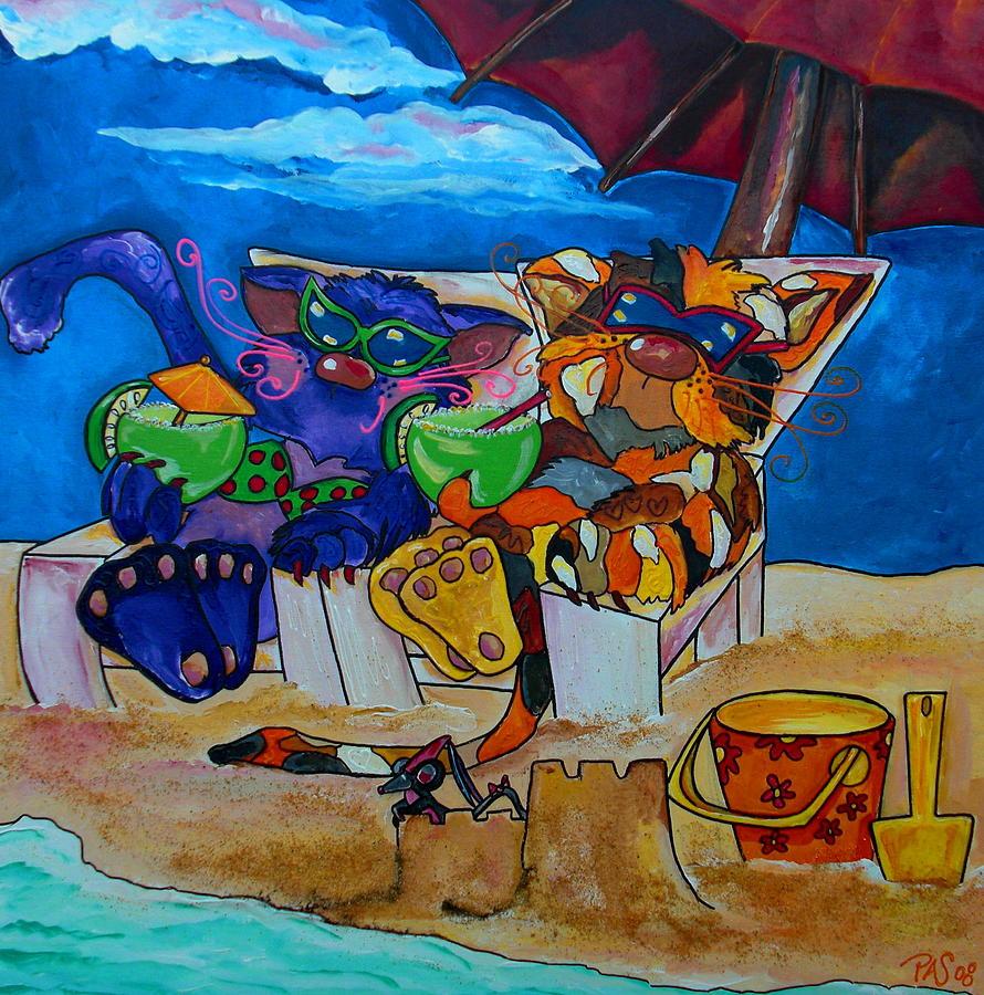 Cats Painting - Fat Cats Catchin Rays by Patti Schermerhorn