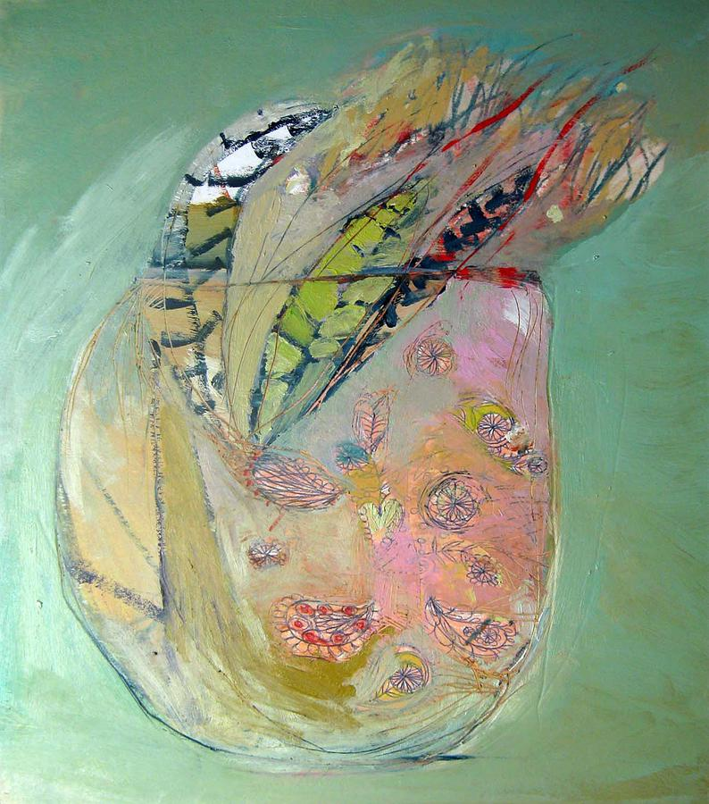 Still Life With Flowers And Feathers Painting - Feathers by Brooke Wandall