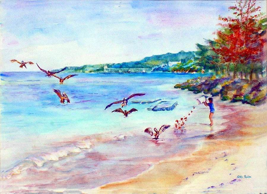 Seascape Prints Painting - Feeding The Pelicans by Estela Robles