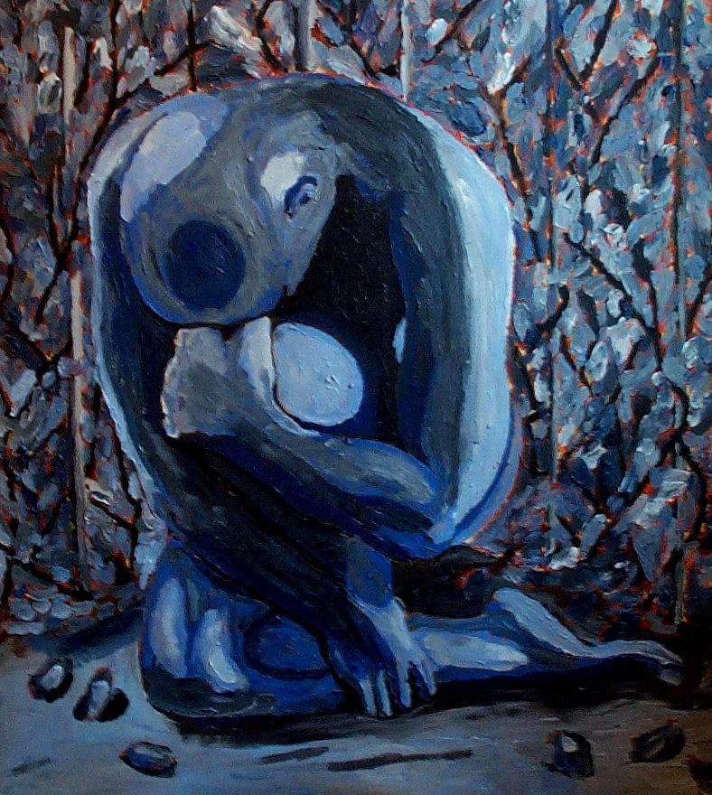 Nude Painting - Feeling Blue by Mats Eriksson