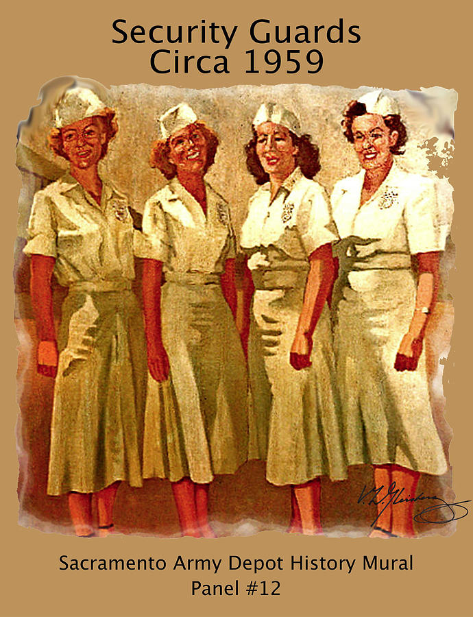 Sacramento Army Depot Painting - Female Security Guards by Dean Gleisberg