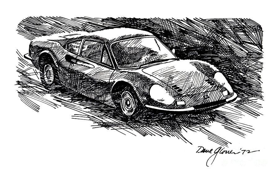 Ferrari Drawing - Ferrari Dino by David Lloyd Glover
