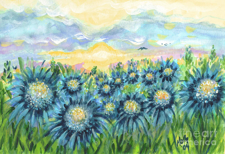 Fields Painting - Field Of Blue Flowers by Holly Carmichael