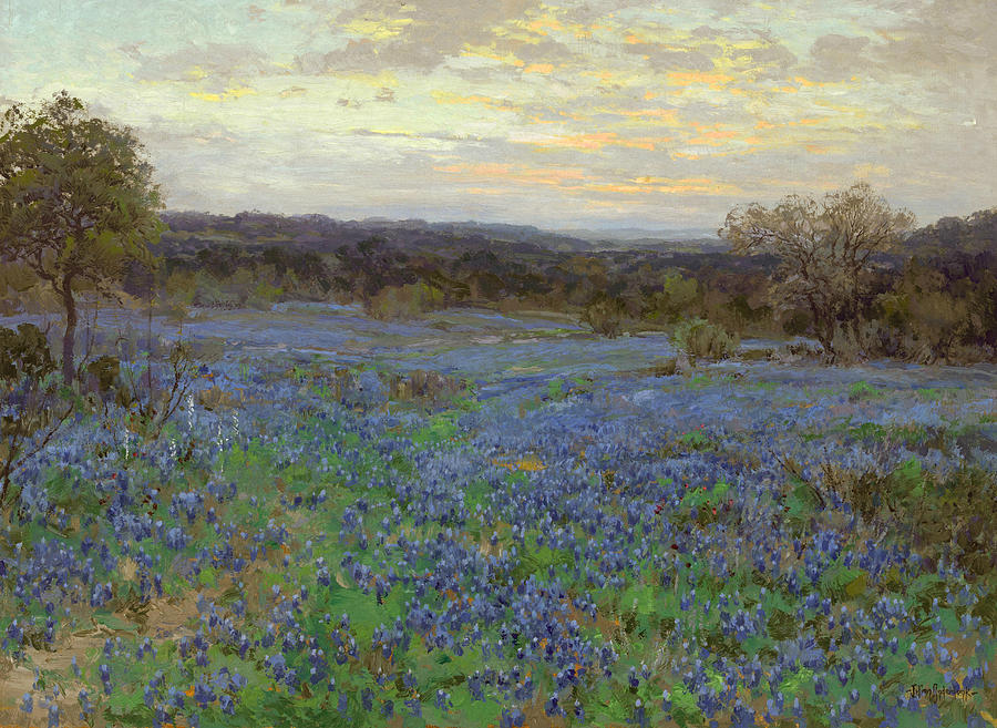 Julian Onderdonk Painting - Field Of Bluebonnets At Sunset by Julian Onderdonk