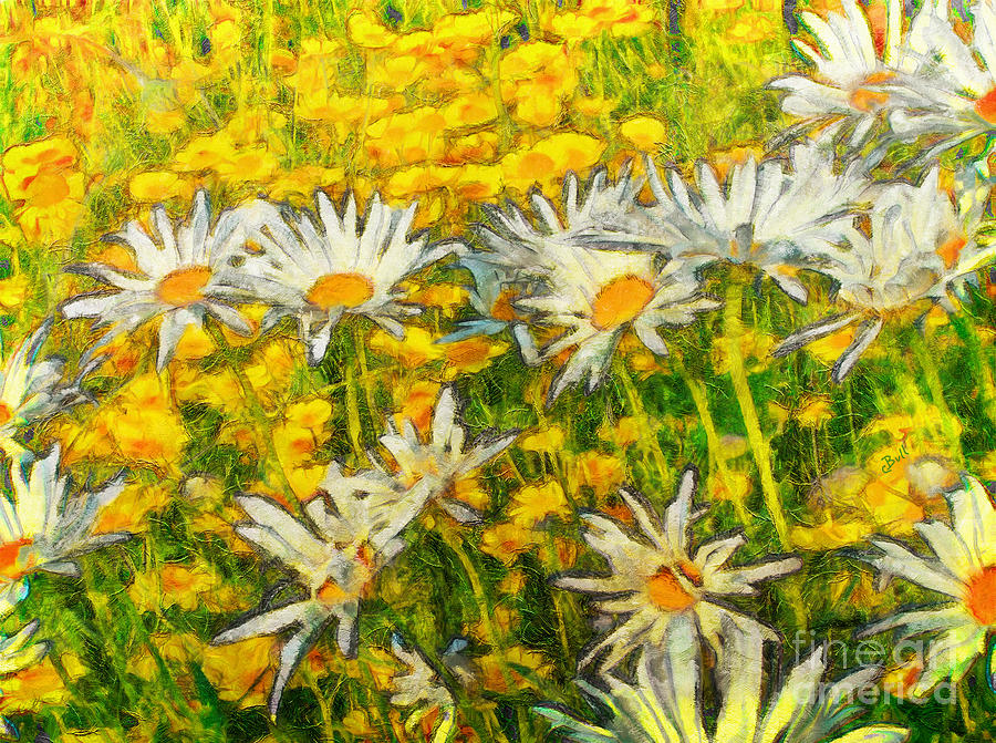 Daisy Painting - Field Of Daisies by Claire Bull