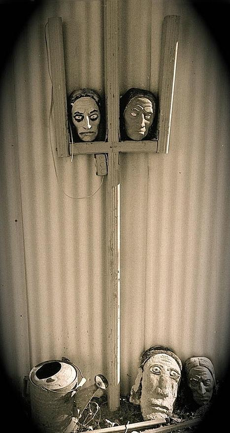 Film Noir Sidney Greenstreet Mask Of Demetrious 1944 Sid Bruces Sculptures Black Canyon Az 1991 Photograph by David Lee Guss