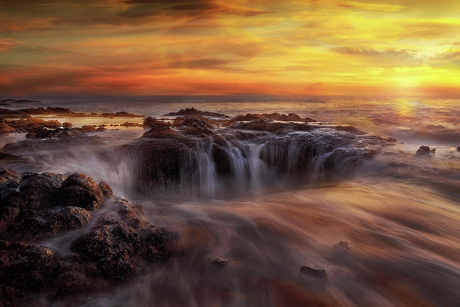Thors Well Photograph - Fire and Water by David Gn