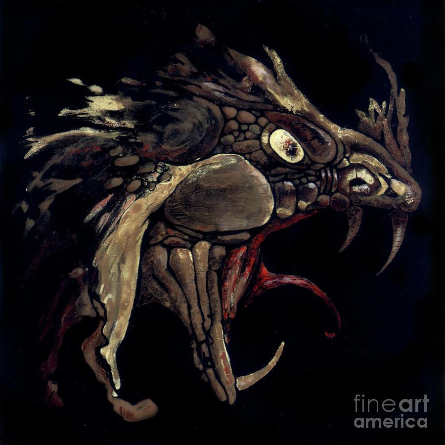 Dragon Glass Art - Fire Dragon by Liz Molnar