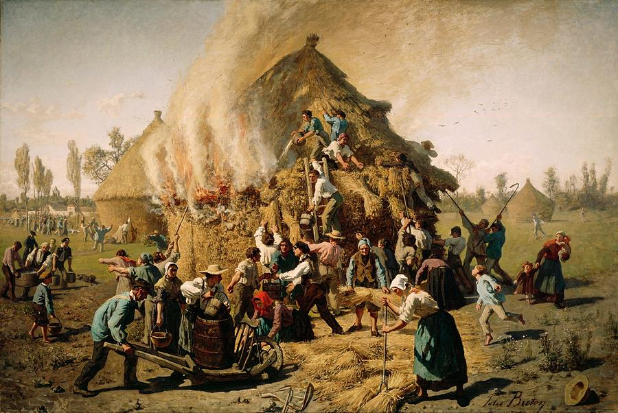 Firing Painting - Fire In A Haystack by Jules Breton