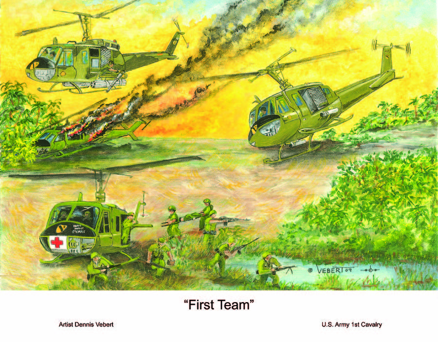 Huey Helicopter Painting - First Team by Dennis Vebert