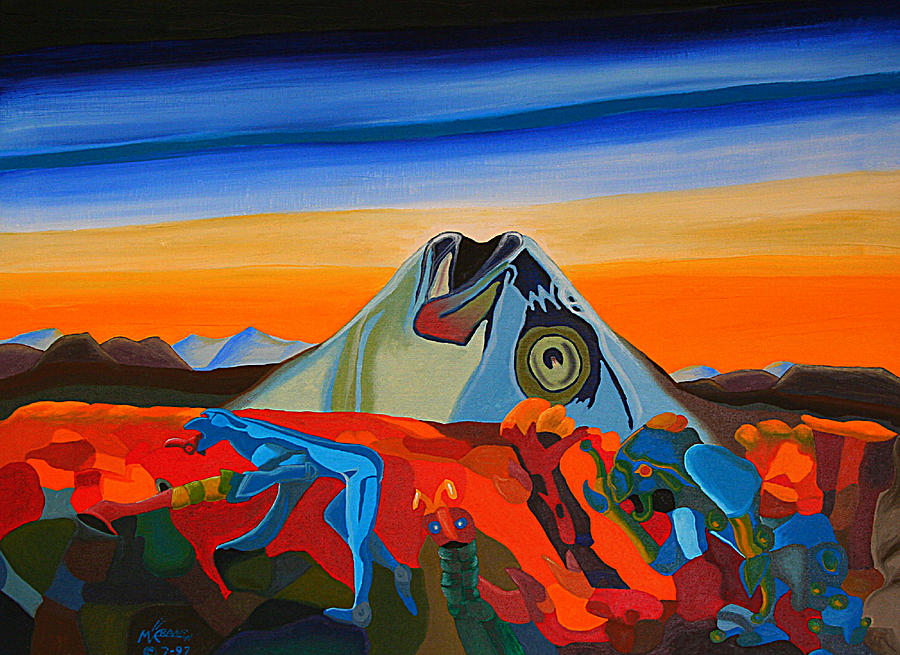 Surrealism Painting - Fish Head Hill by Michael C Crane