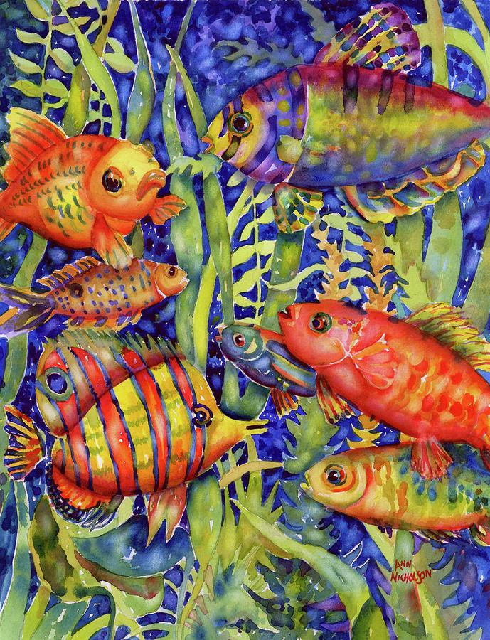 Watercolor Painting - Fish Tales IIi by Ann Nicholson