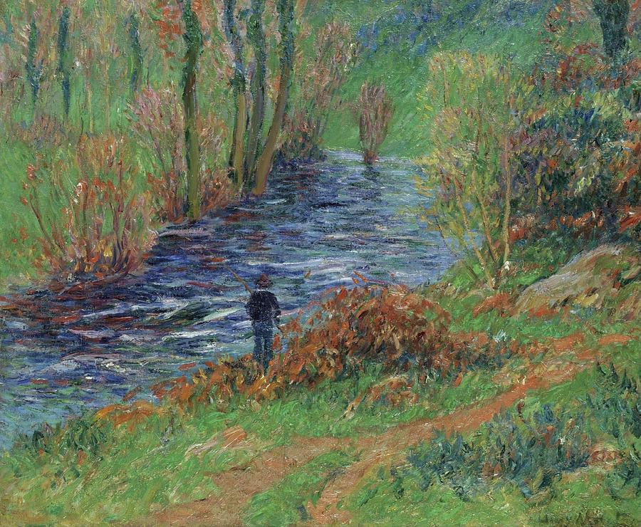Man Painting - Fisher On The Bank Of The River by Henri Moret