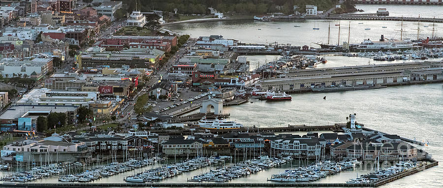 Fisherman's Wharf Photograph - Fishermans Wharf And Pier 39 Aerial Photo by David Oppenheimer