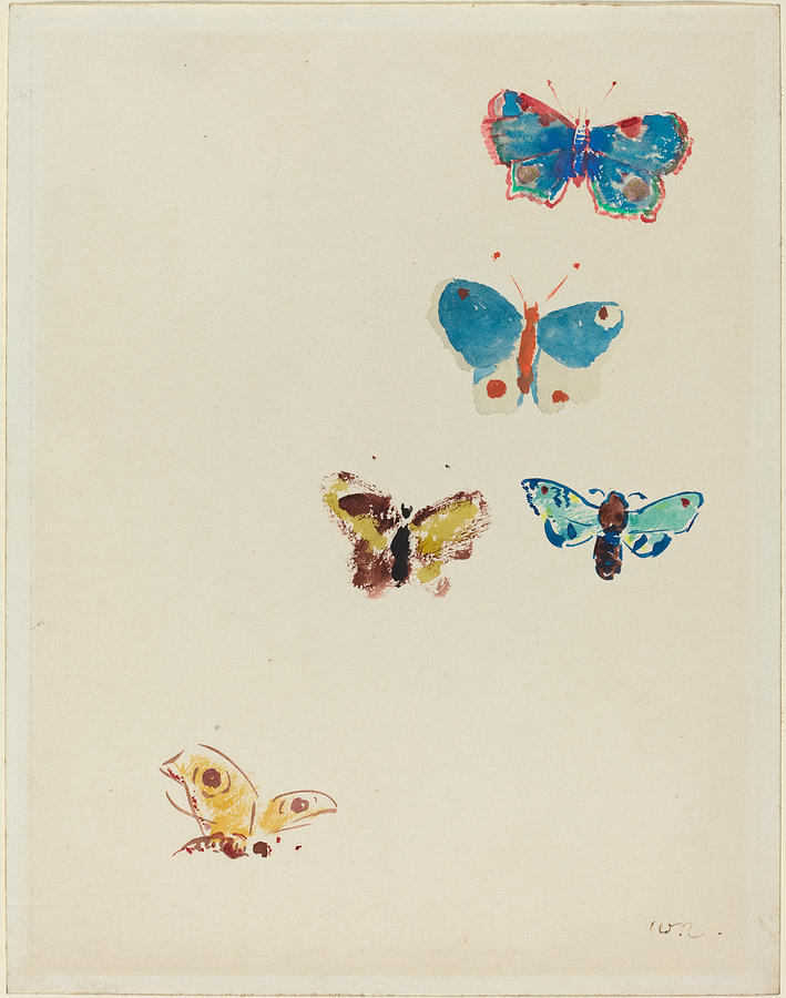 Five Butterflies Painting by Odilon Redon