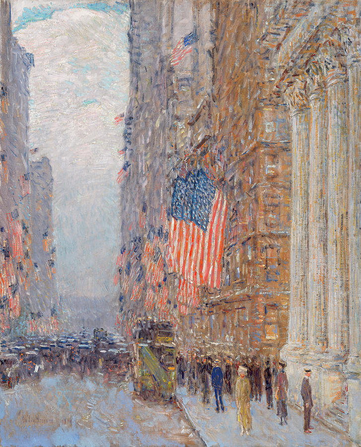 Flags Painting - Flags On The Waldorf by Childe Hassam