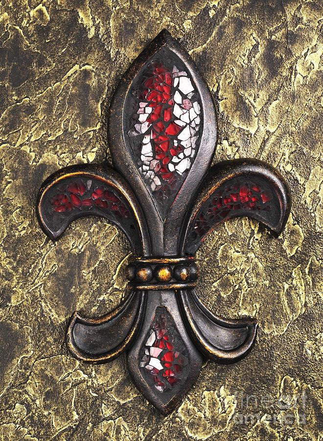 red mosaic Fleur-di-lis Photograph