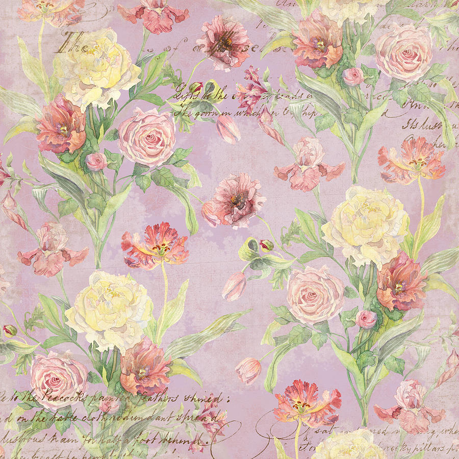 Peony Painting - Fleurs de Pivoine - Watercolor in a French Vintage Wallpaper Style by Audrey Jeanne Roberts