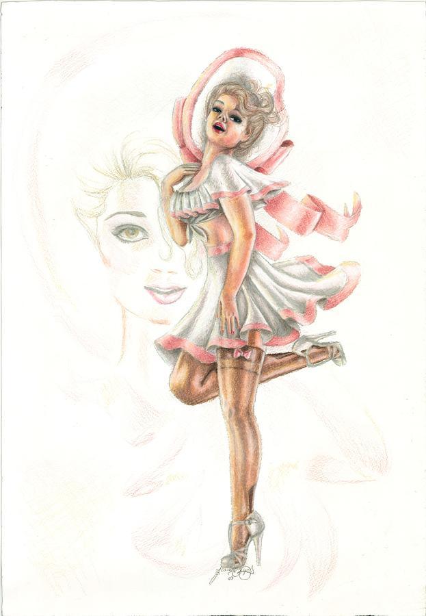 Face Drawing - Flirtation In The Breeze by Scarlett Royal