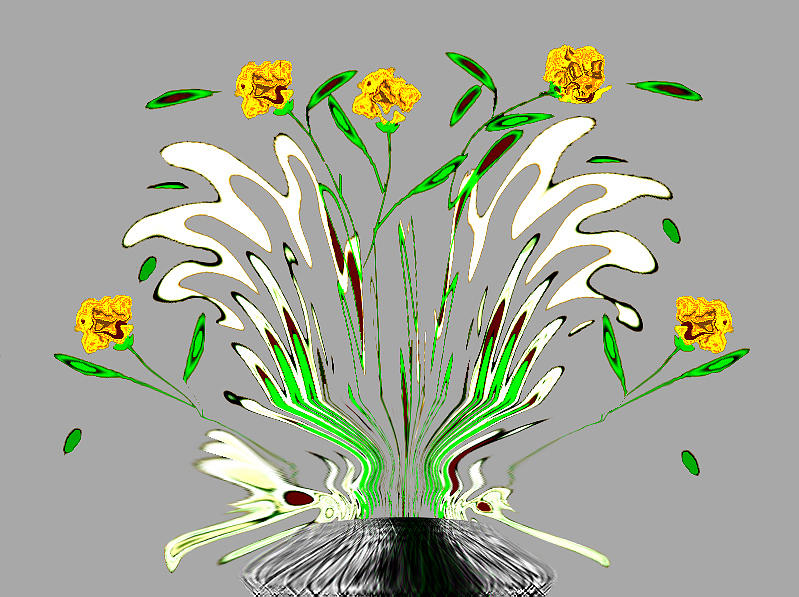 Flowers Digital Art - Floral by Aline Pottier  Gama Duarte