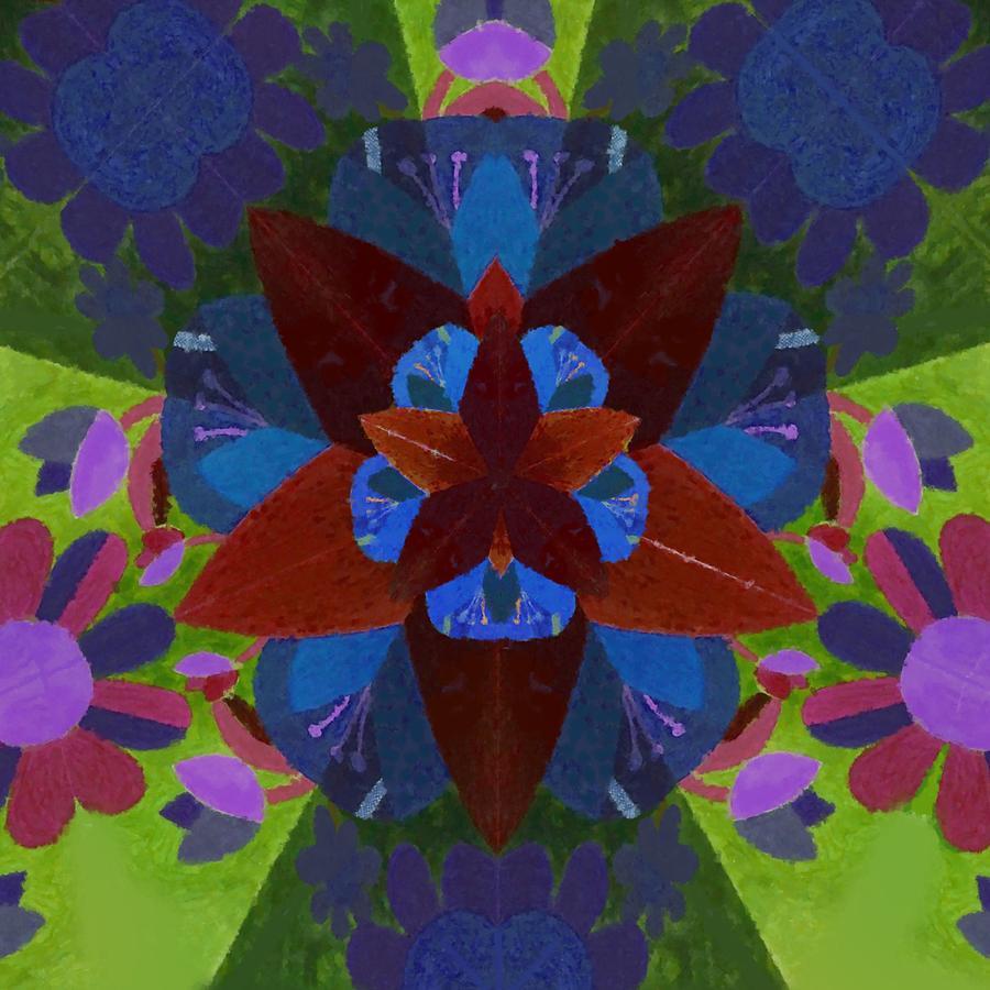 Floral kaleidoscope painted pattern by Lenka Rottova