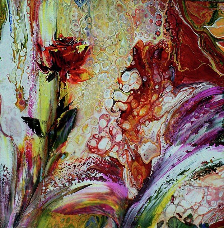 Mixed Technique Painting - Floral  Miracle by Nelu Gradeanu
