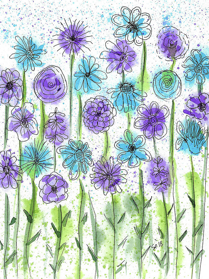 Watercolor And Ink Painting - Flower Fantasy by Susan Campbell