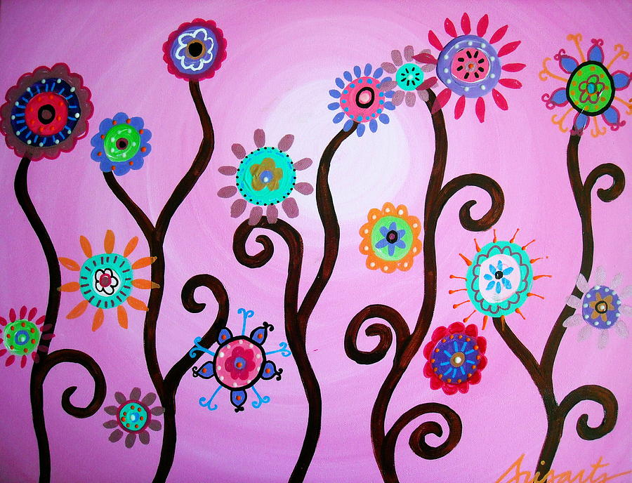 Fest Painting - Flower Fest by Pristine Cartera Turkus