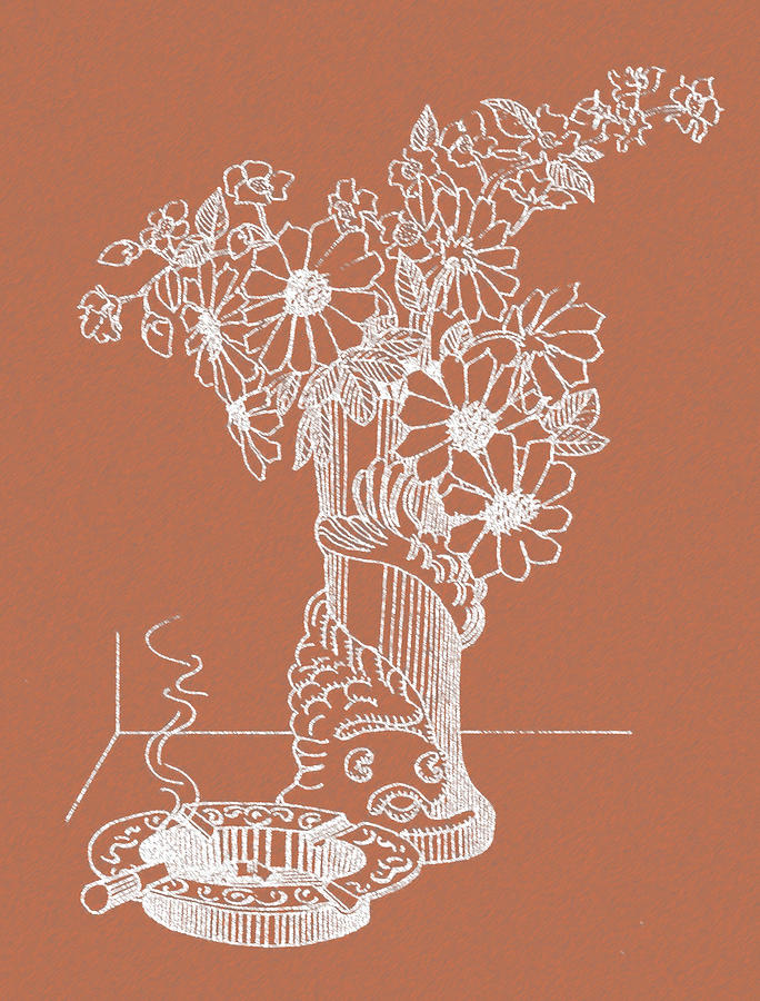Flower Pot Drawing - Flower Pot by Nandan Nagwekar