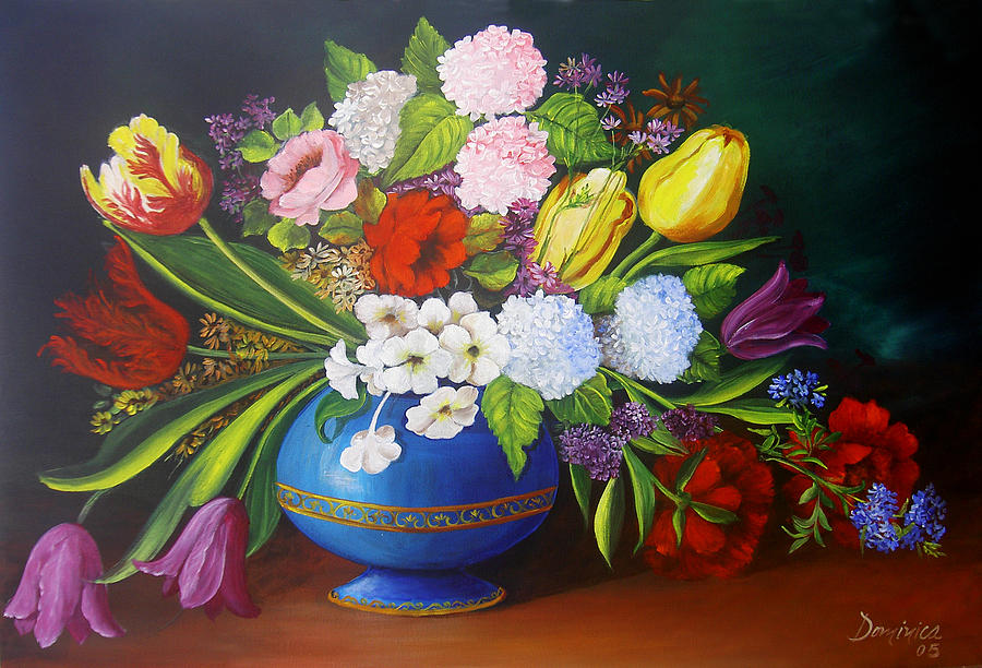Colorful Painting - Flowers In A Vase by Dominica Alcantara