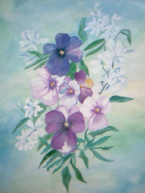 Blue Flowers Painting - Flowers In The Mist by Seema Sharma