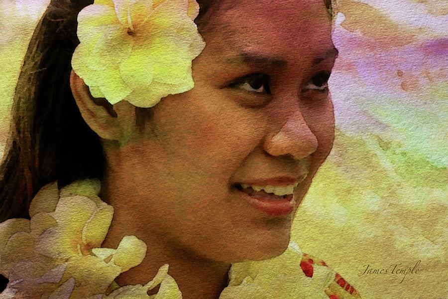 Hula Dancer Digital Art - Flowers That Smile by James Temple