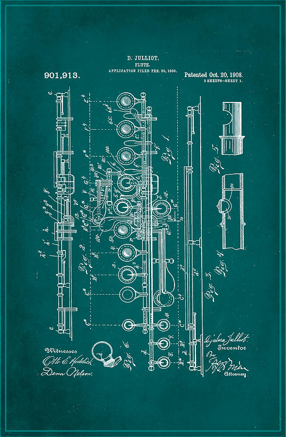 Patent Mixed Media - Flute Patent Drawing 2f by Brian Reaves