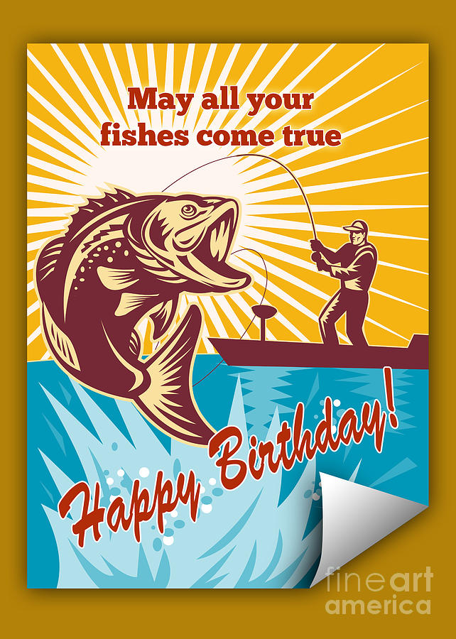 Birthday Day Card Featuring Fly Fisherman On Boat Catching Largemouth Bass Retro Style Illustration Digital Art - Fly Fisherman On Boat Catching Largemouth Bass by Aloysius Patrimonio