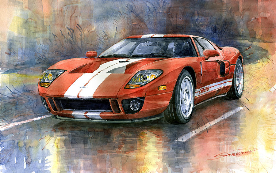 Watercolor Painting Ford Gt   By Yuriy Shevchuk