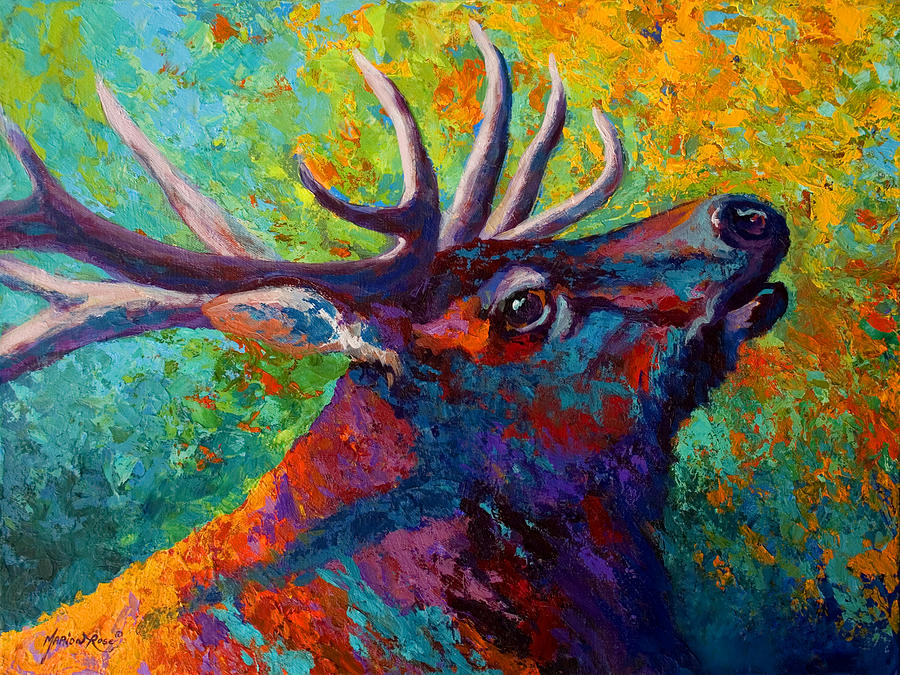 Elk Painting - Forest Echo - Bull Elk by Marion Rose