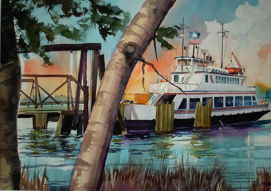 Boats Painting - Fort Fisher Ferry by Richard Staat